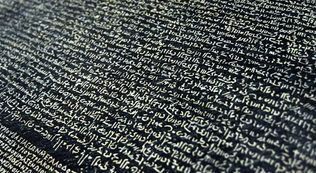 The Rosetta Stone, the ultimate code-breaking tool between languages.