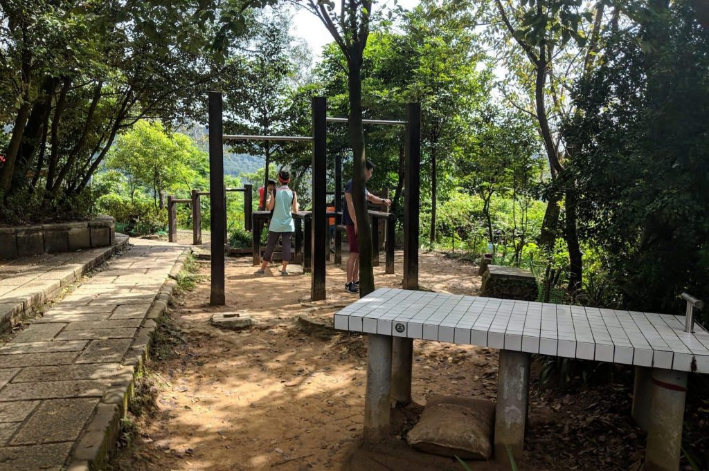 It's hard to exercise and stay fit while travelling.  Outdoor exercise parks like this one in Taiwan help.