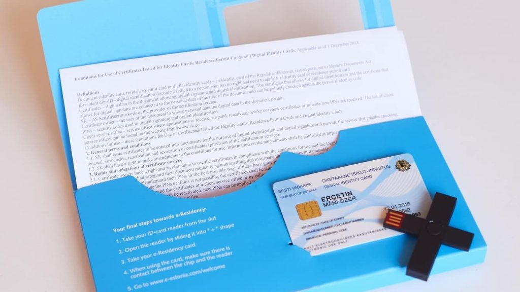 Living in Estonia - one of the major advantages is the E-Residency. This is a picture of the card and envelope.