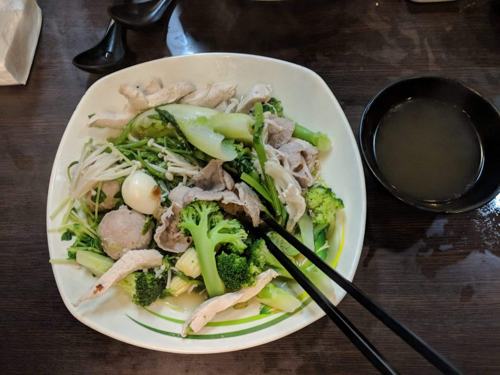 Eating Healthy in Taiwan - steamed chicken and broccoli