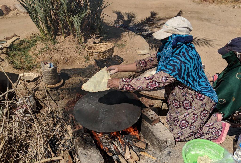 Bedouin woman making bread