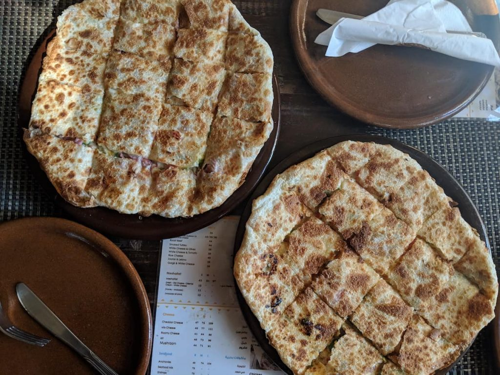 A fiteer, or a stuffed pizza. Finding great food in Egypt is one of the best benefits of living in Egypt or Cairo.