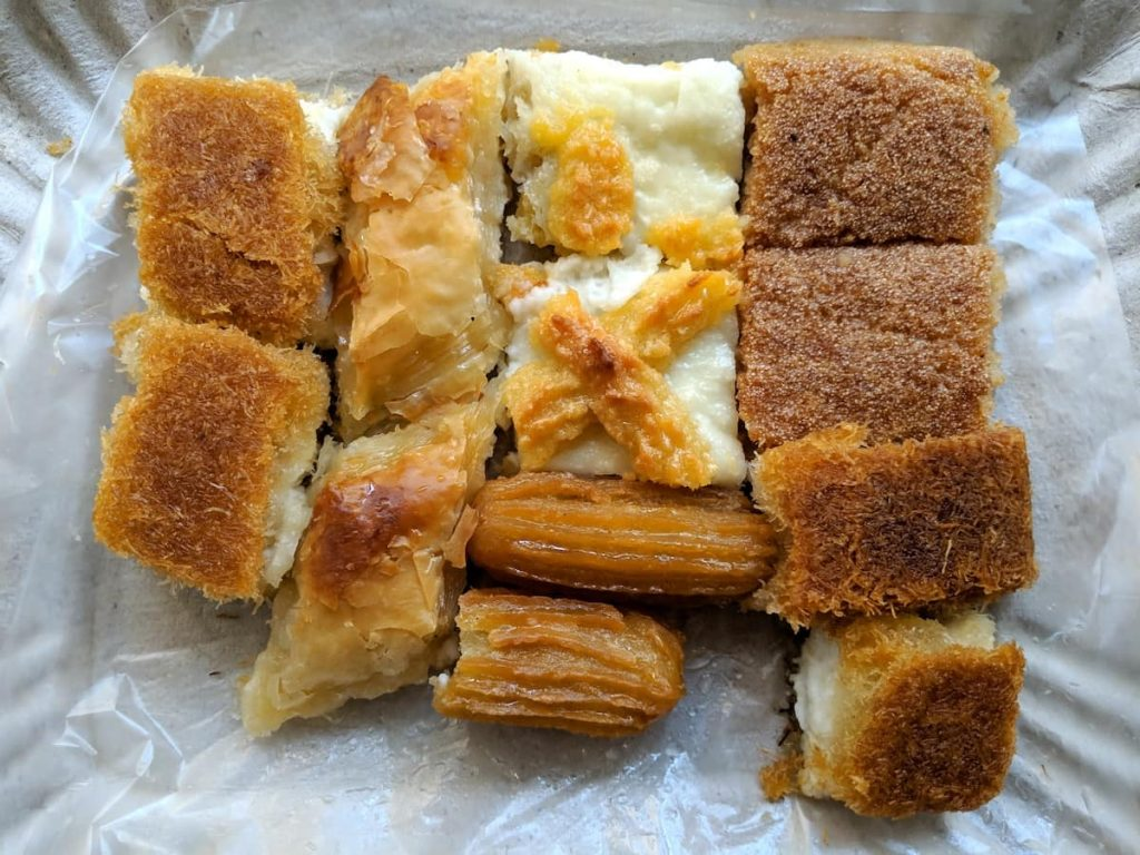 Arabic and Egyptian sweets, especially basbousa, konafeh and baklawa, are some of the best foods to eat in Egypt.