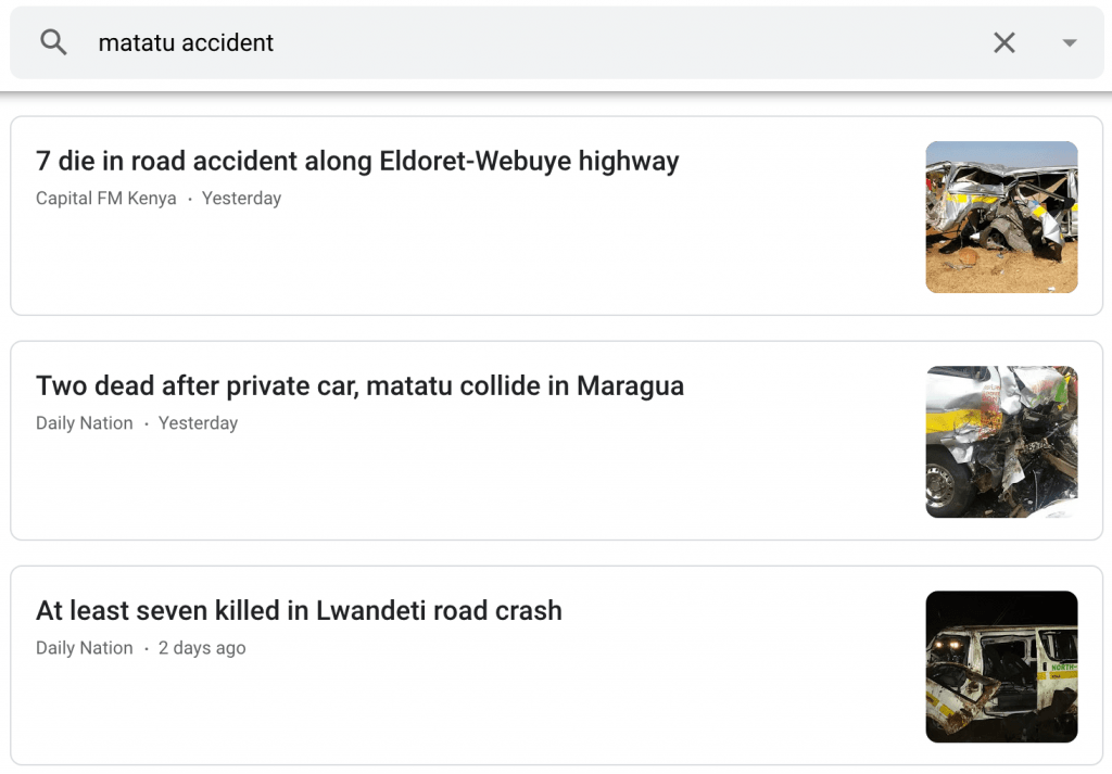 Road accidents with matatus, dala dalas and microbus are a regular feature of digital nomad life