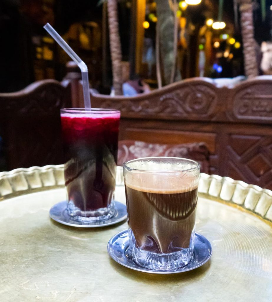 Turkish or Arabic coffee, drunk in egypt. It has some body! In the background: hibiscus tea.