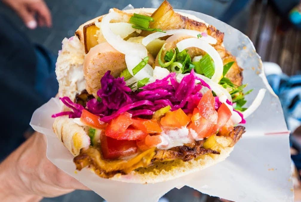A sabich sandwich is a vegan staple in tel aviv (without egg) - from sabich frishman