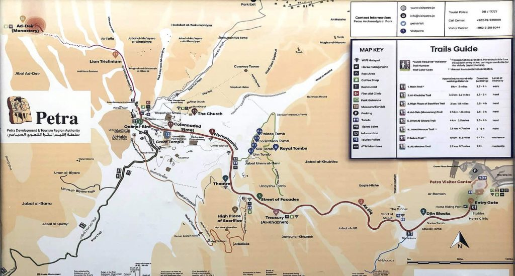 Visit Petra in Jordan and consult a map of trails so you can find all the sites without a guide.