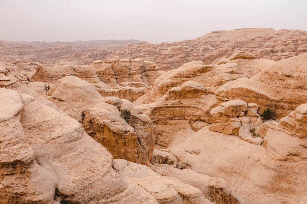 The landscape in Petra, where there are amazing hiking trails