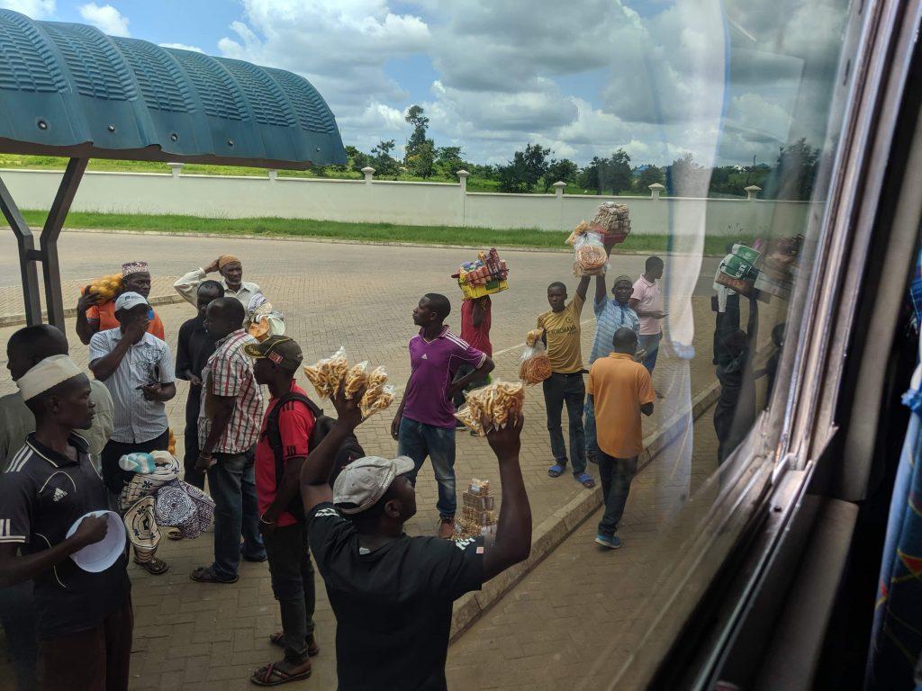 Tanzania bus stop selling snacks