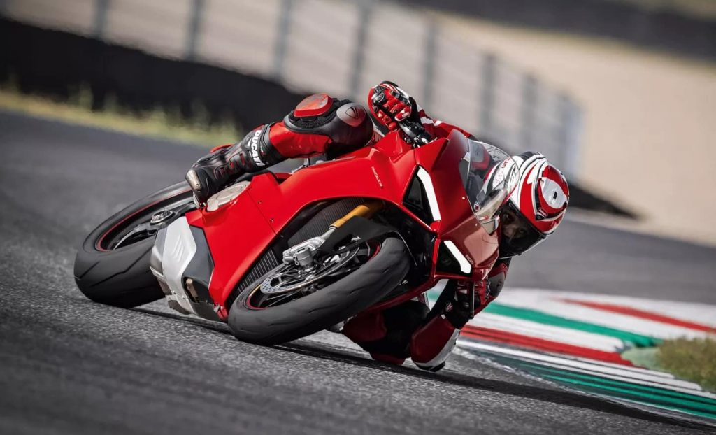 Man commuting on a Ducati Panigale V4