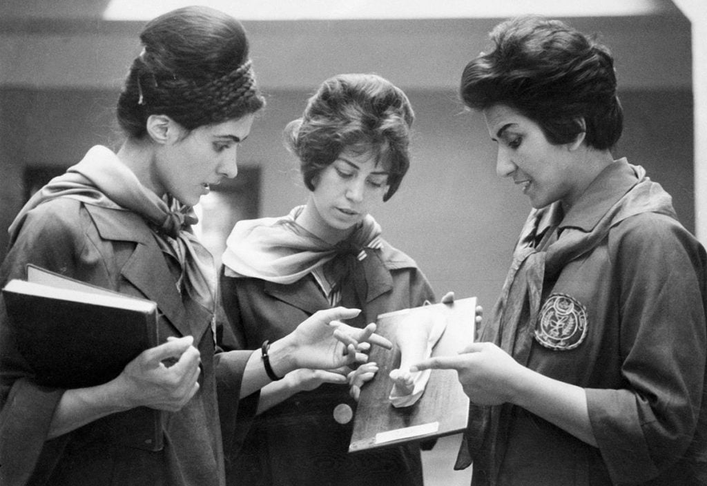 Afghan women medical students wearing modern european fashion