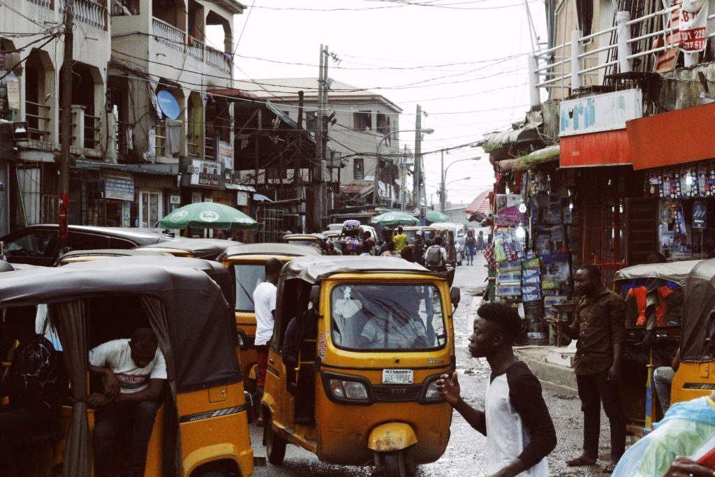 Streets of Lagos, Nigeria, where they speak Yoruba and Igbo