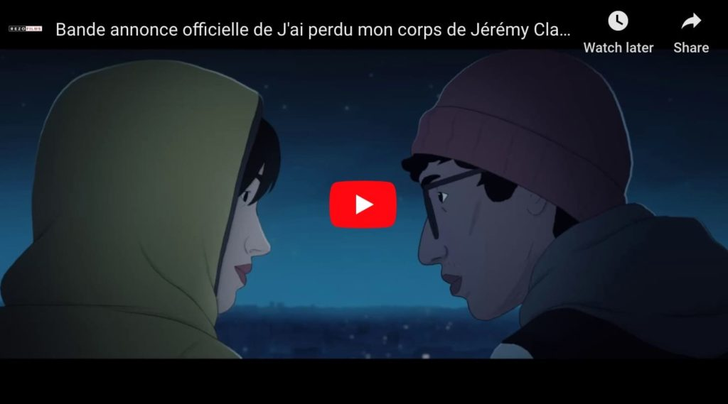 A screen capture from the trailer from french animation film J'ai Perdu Mon Corps (I lost my body), two cartoon guys talking