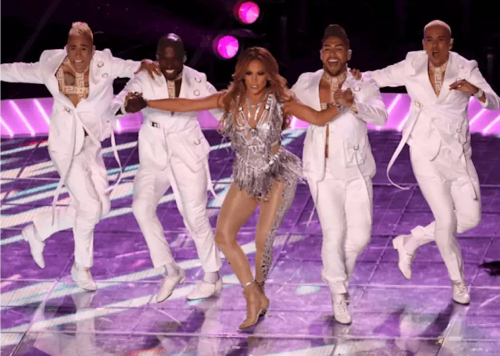 Jennifer Lopez dancing salsa with Swing Latino at the 2020 SuperBowl