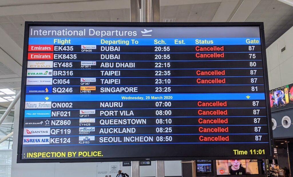 cancelled flights due to coronavirus pandemic