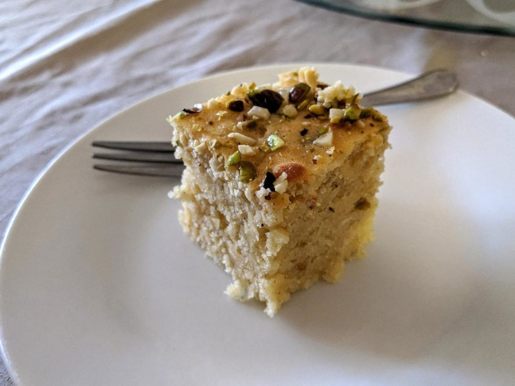 Cake yazdi - cut into squares from a cake baked in a cake pan