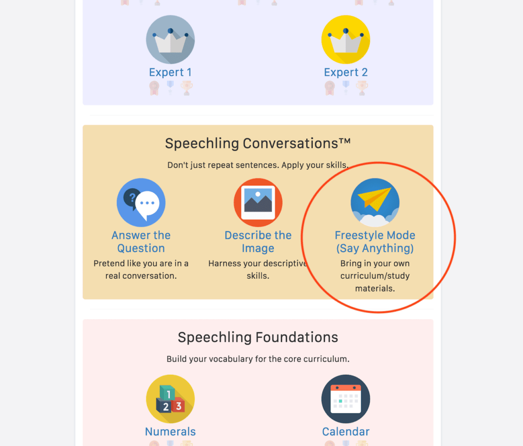 Where to find Freestyle Mode in Speechling