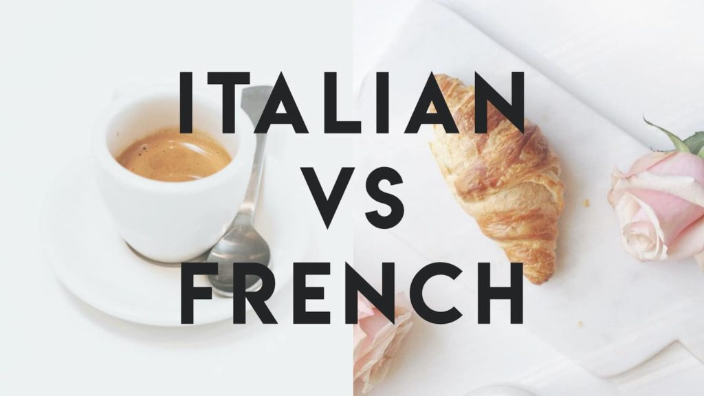 Italian vs French cover image with espresso and a croissant