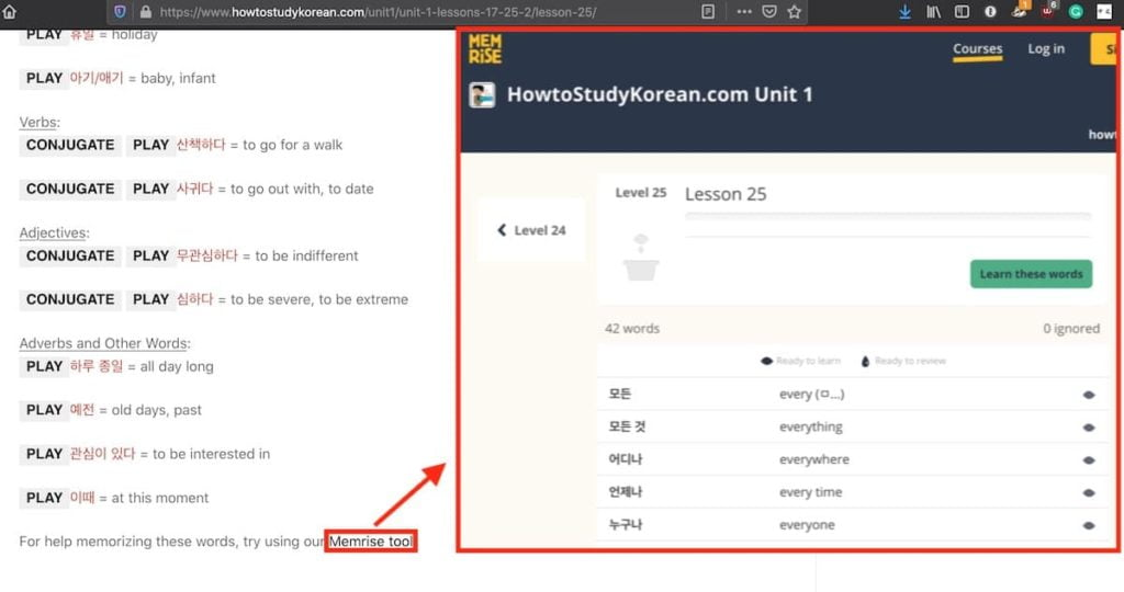 How to study korean link for vocabulary on memrise