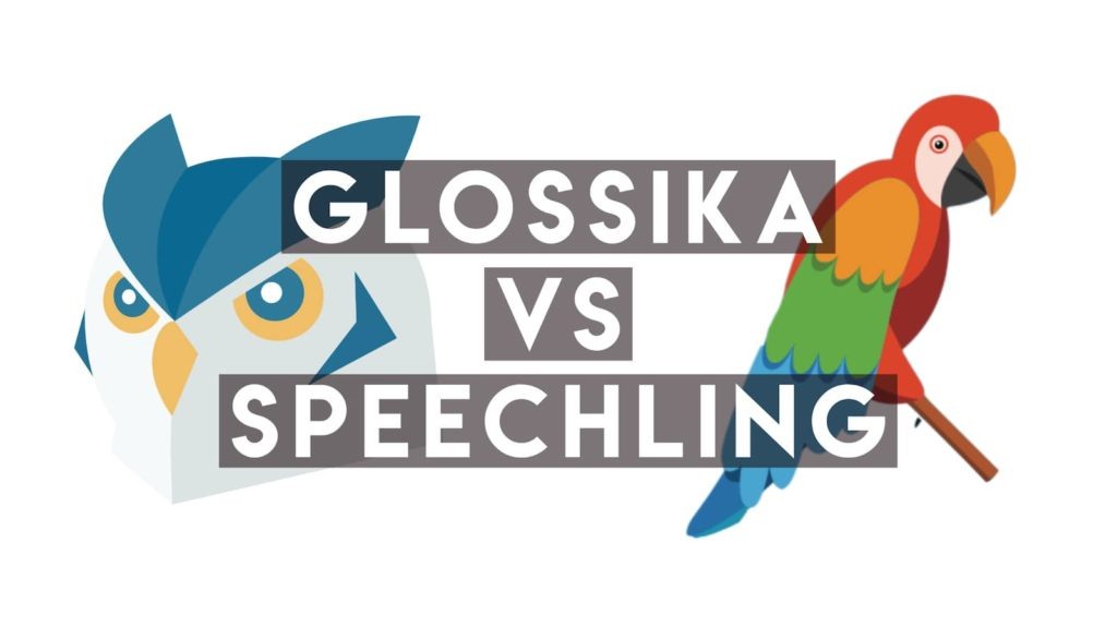 Glossika vs SPeechling over logos of Glossika and Speechling