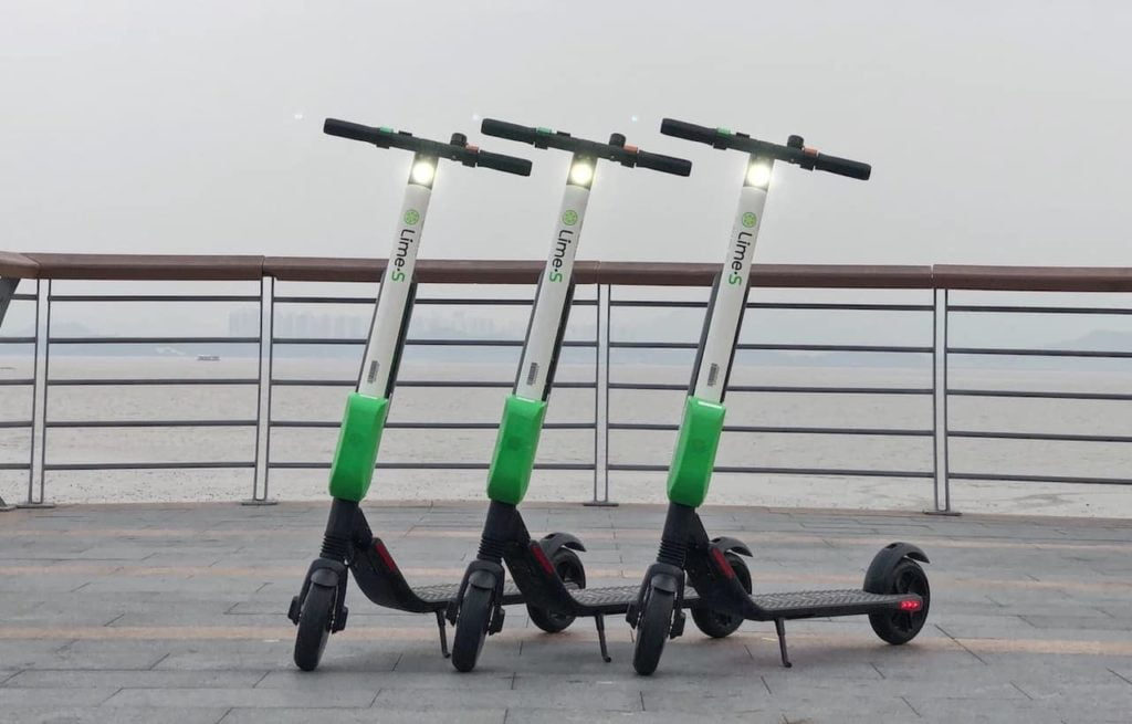 """Electric scooters in France, called """"patinette""""."""