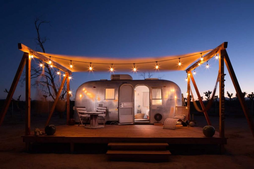 airstream joshua tree airbnb lights