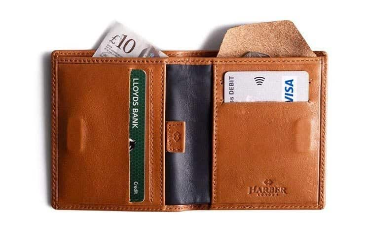 Leather RFID wallet travel gift idea for men