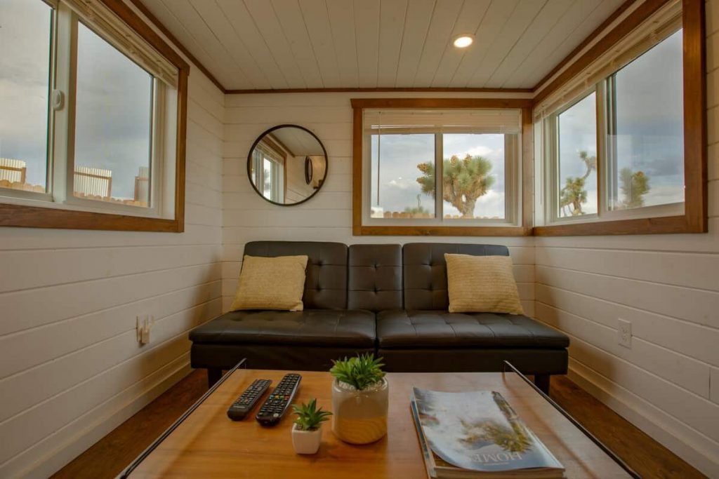 tiny home airbnb joshua tree sofa