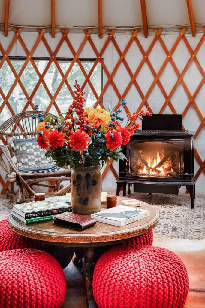 Luxe Airstream at Wellspring Ranch Yurt Interior fireplace
